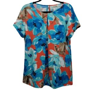 FAITH AND JOY Blouse Blue Red Floral Loose Casual